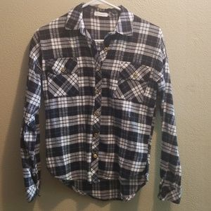 Black & White Plaid Flannel with Gold Buttons